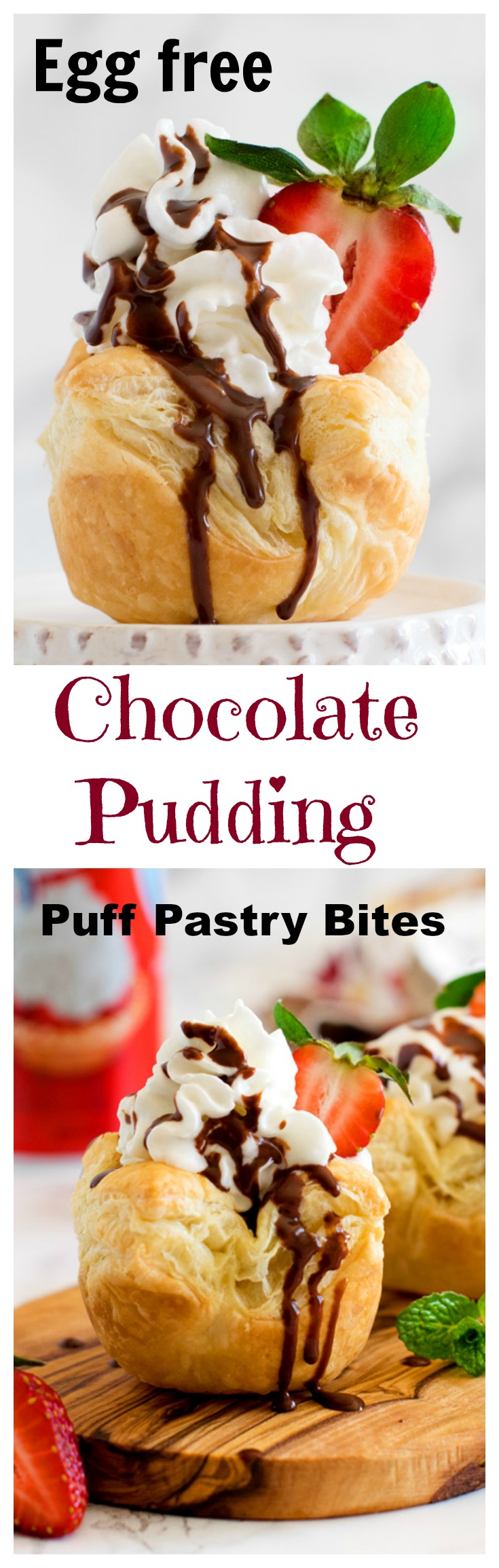 Egg free chocolate pudding puff pastry bites