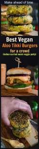 Vegan vegetable aloo tikki burgers