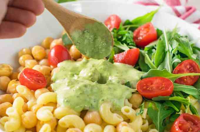 zero oil chickpeas pesto pasta salad