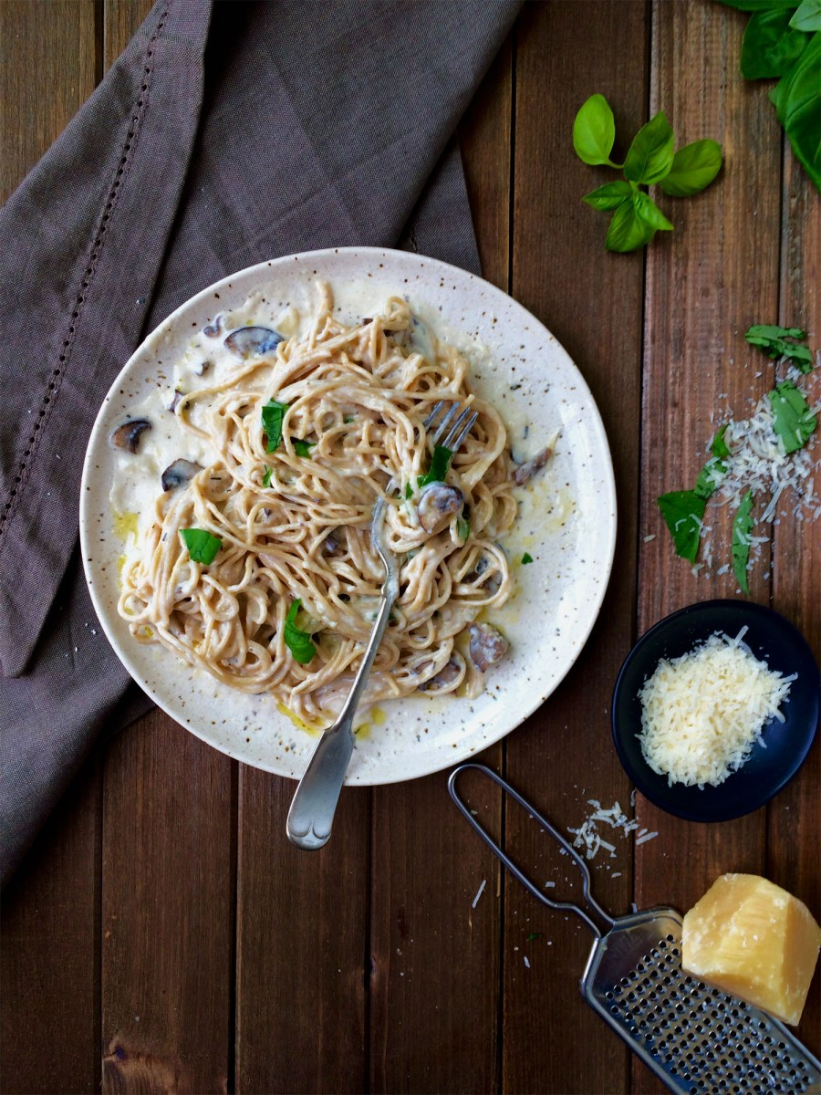 Easy pasta night with herbed mushroom cream sauce in 30 minutes or less