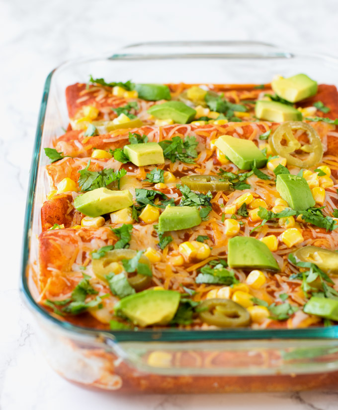Easy Vegetarian Enchiladas with refried beans & vegetables