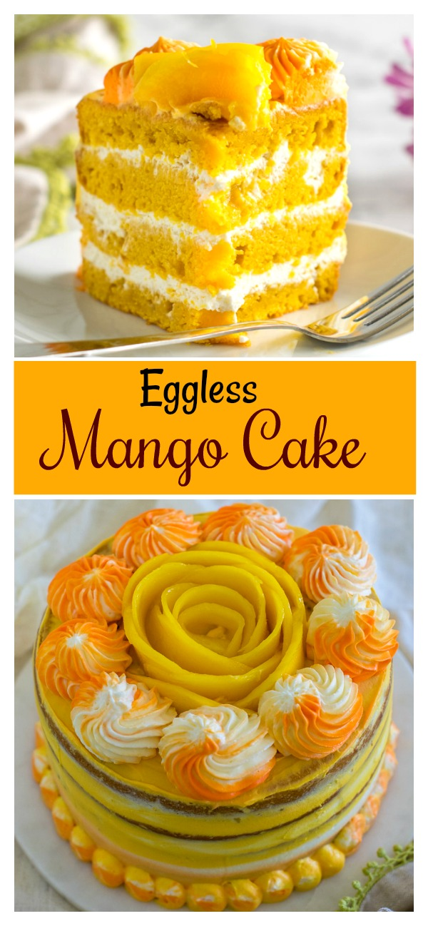 Learn how to make a Eggless mango cake / mango cake recipe without butter and eggs. A four layered cake with eggless pudding and whipped cream cheese frosting. Indian eggless moist mango cake recipe that is easy to make with simple instructions. Makes 1 kilo (kg) eggless cake. #eggless #mango