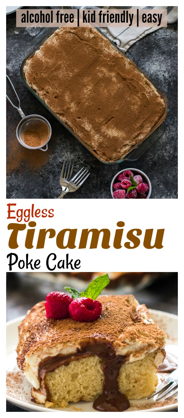 Eggless Tiramisu poke cake kid friendly / Tiramisu recipe for kids has no alcohol , no coffee , no eggs. Easy Tiramisu cake recipe is fluffy and moist without eggs in the sponge. The cake is poked with chocolate pudding and topped with mascarpone cheese whipped cream frosting . Perfect Italian dessert for potlucks . #ad #LeftFieldFarms @LeftFieldFarms