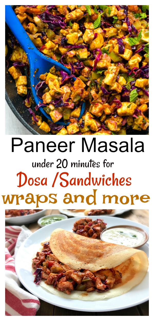 Paneer masala for dosa sandwiches wraps and more under 20 minutes.  A healthy no cream , no butter paneer recipe for everyday meal. Easy to make veg paneer masala for kids school  lunch or family dinner. Low carb and diabetic friendly paneer recipe. #paneer #indianrecipe #kidslunchboxideas #vegetarian