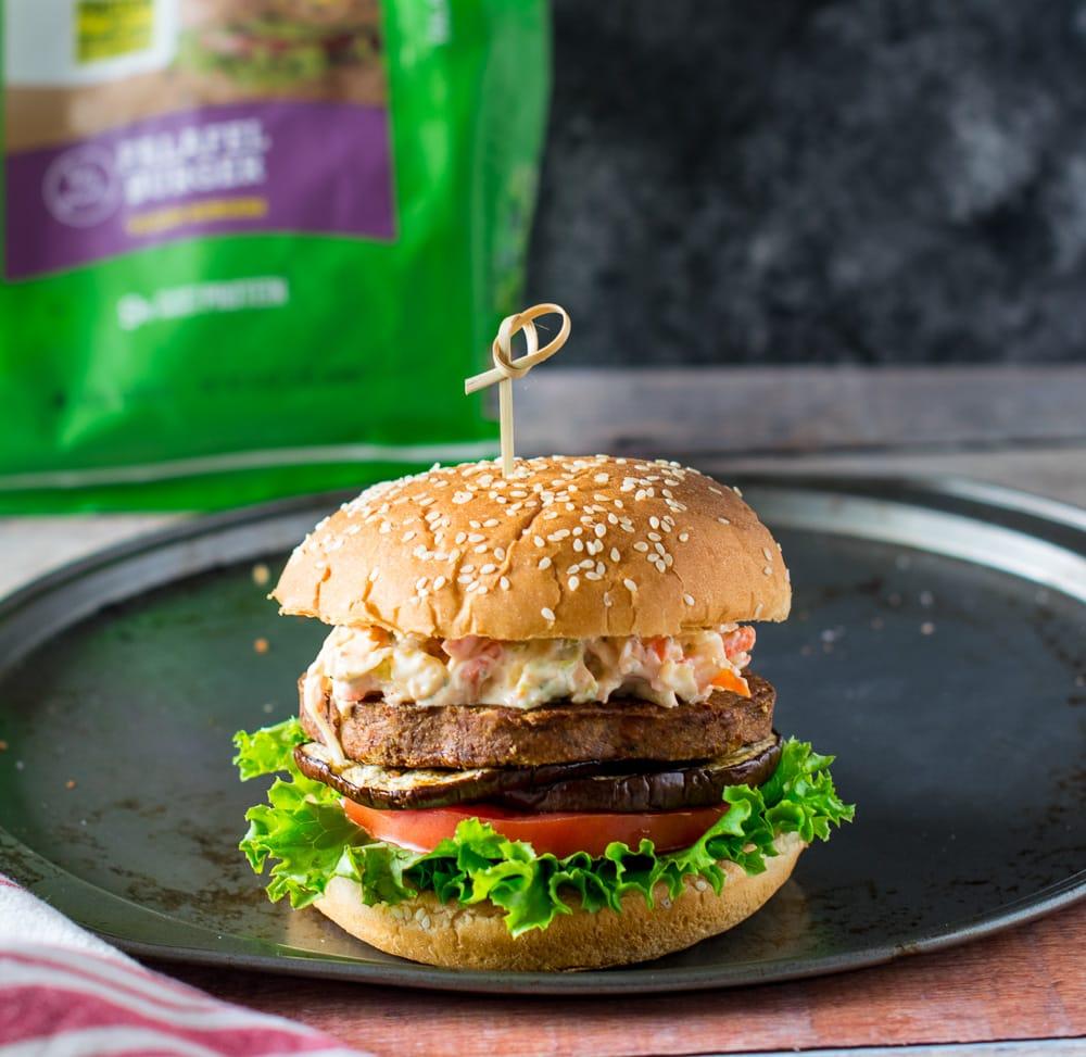 Vegan coleslaw falafel burger