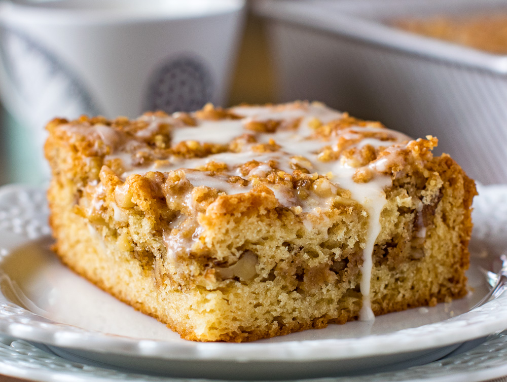 Eggless Coffee Cake with walnut streusel topping