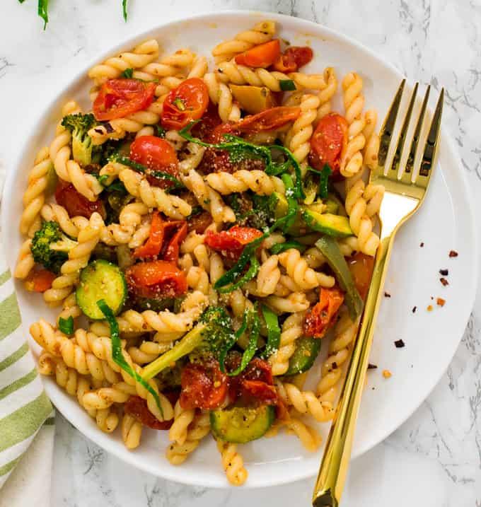 Vegan Pasta Primavera with roasted vegetables