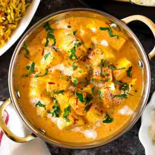 Authentic Indian Curry Shahi paneer served in a Indian bowl