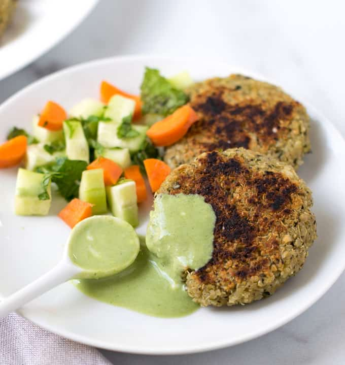 Quinoa paneer patties with salad & green chutney
