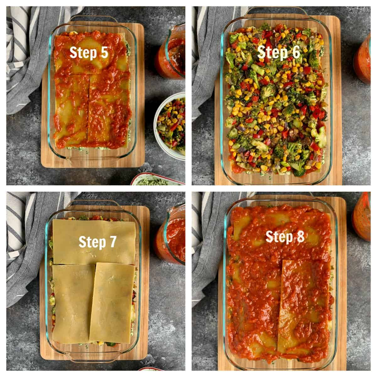 Vegetable and sauce layer put in the baking dish