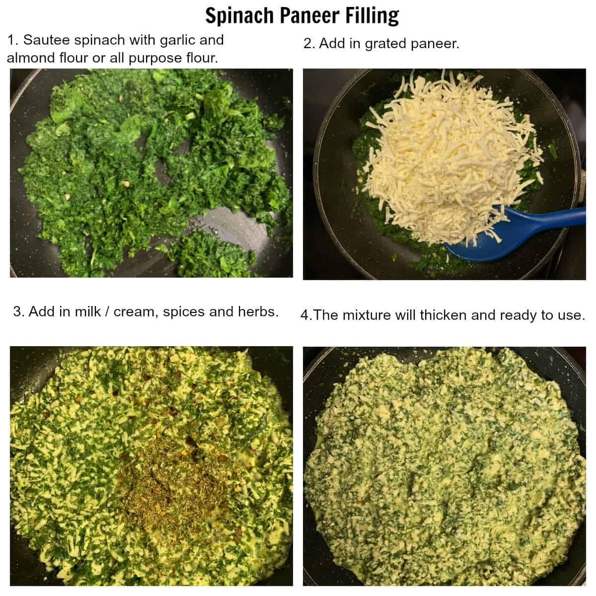 Steps in making spinach paneer filling