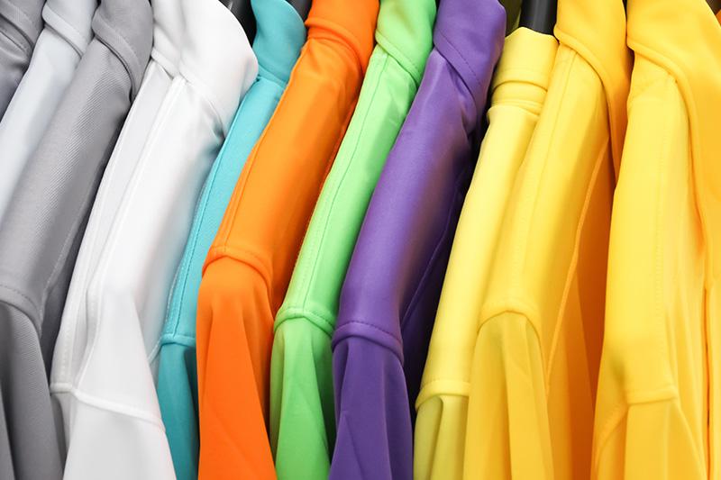 polos, uniforms, shirts, hanging, hangers