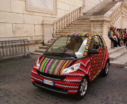 Smart Car with Crocheted Cover