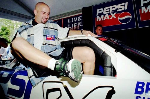 Andre Agassi in a car