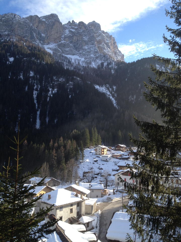 The house nestled cosily beneath the woods with a great outlook over the village of Col di Rocca.