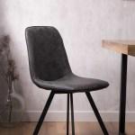 Arizona Leather Dining Chair Charcoal Grey Casa Bella Furniture Uk