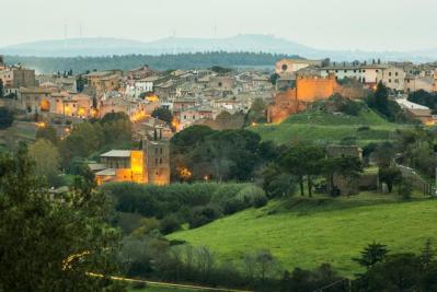 Night falls over Tuscania
