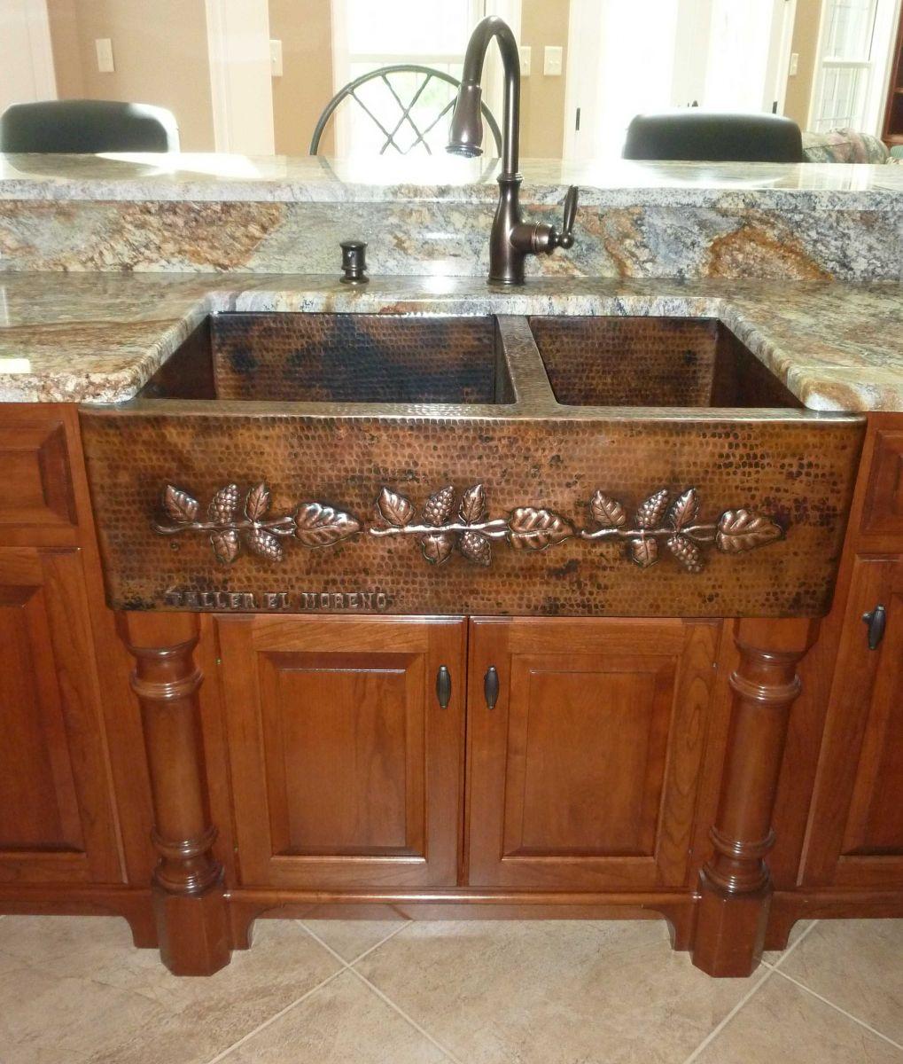 copper apron sink 2 bowls 60 40 horses