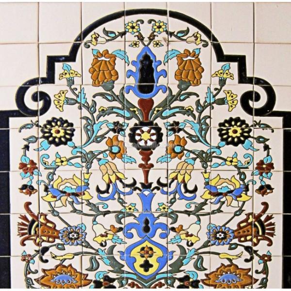 talavera high relief mural peacock