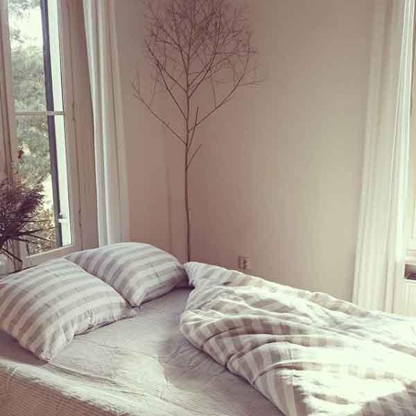 Gestreept-linnen-dekbedovertrek Stripe Naturel Thick – Casa Comodo