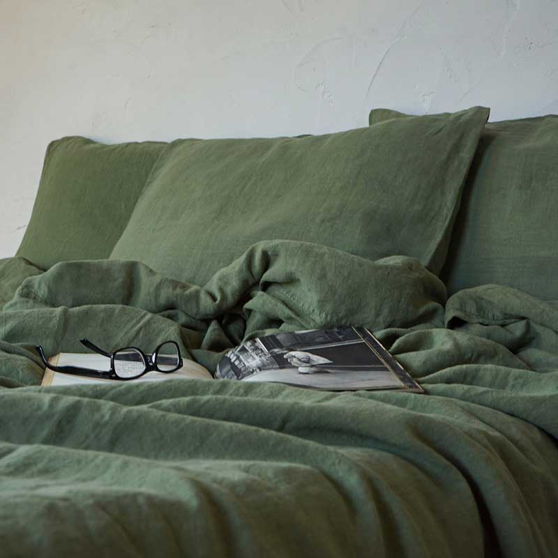 green linen duvet cover
