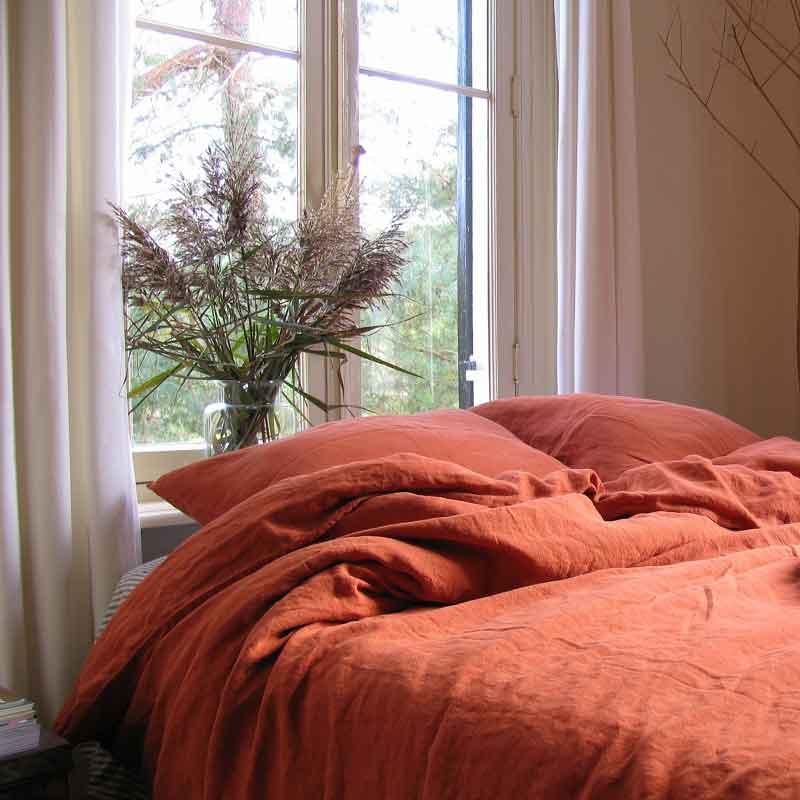 Steenrood linnen dekbedovertrek Baked Clay - Casa Homefashion