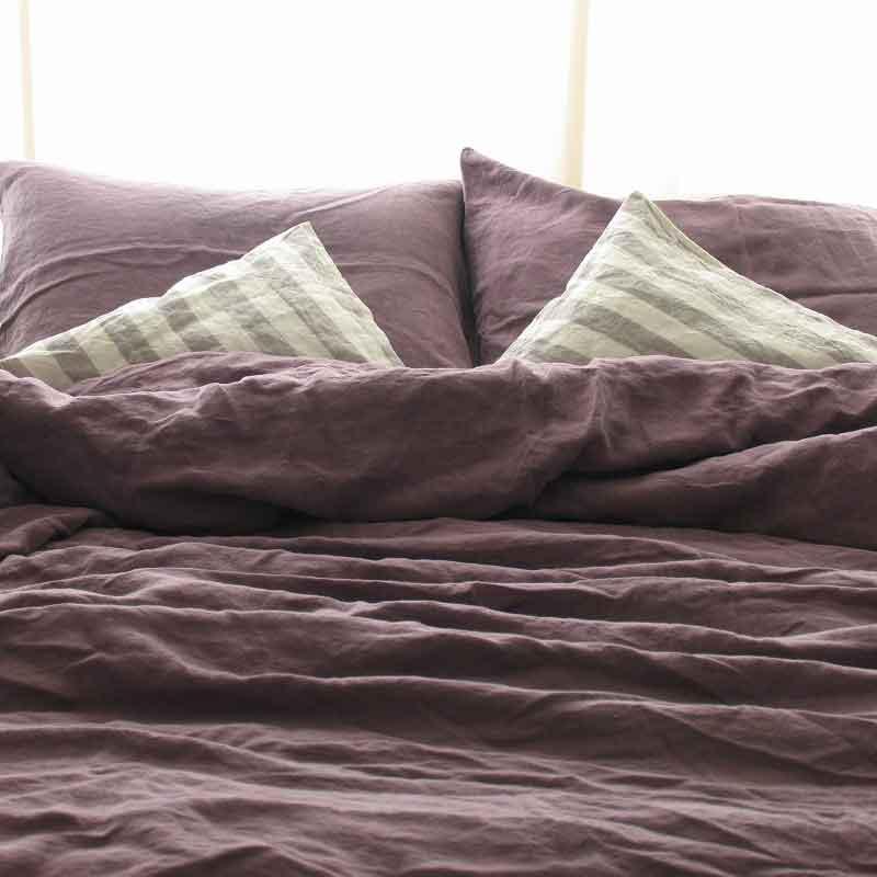 donkerpaars linnen dekbedovertrek Black Purple - Casa Homefashion