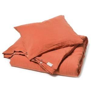 Steenrood stonewashed linnen dekbedovertrek Baked Clay - Merk Casa Homefashion - online te koop bij Casa Comodo