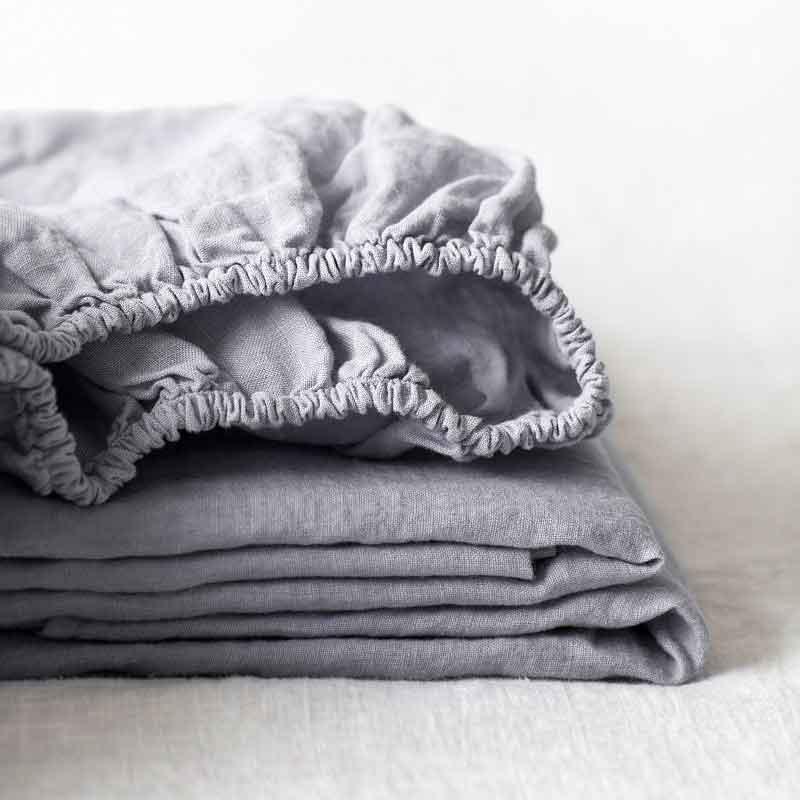 Lichtgrijs linnen hoeslaken Dove Grey - Casa Comodo