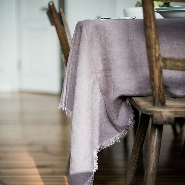 Lavender stonewashed linen tablecloth with fine fringes - available online at Casa Comodo