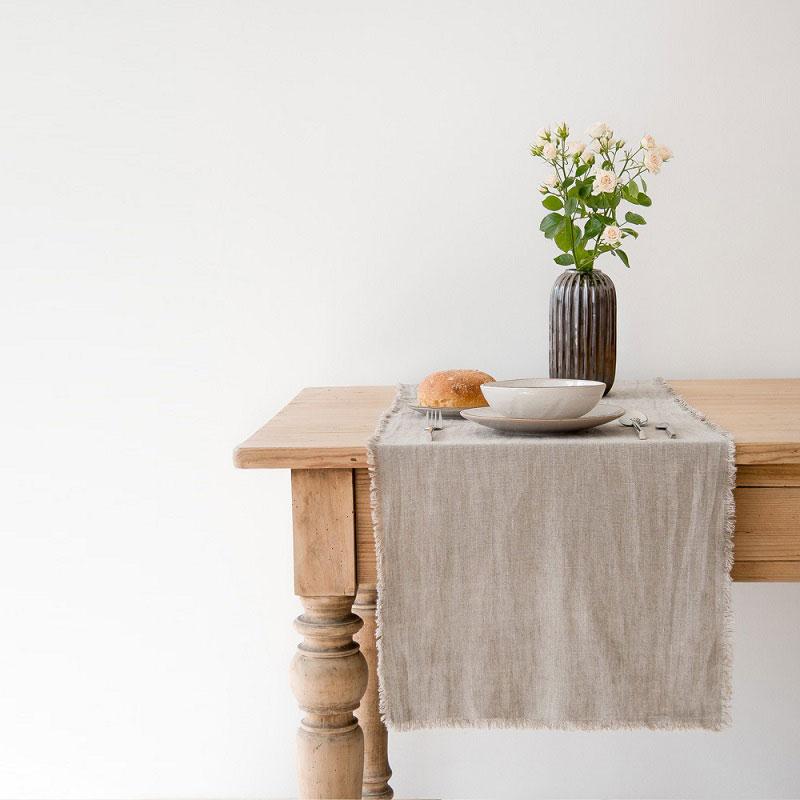 Linnen tafelloper naturel - zandkleurig - Casa Comodo