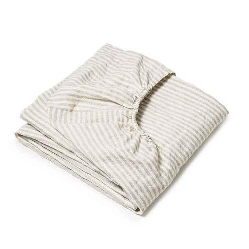 Zandkleurig gestreept linnen hoeslaken voor een lediant Stripe Naturel - Casa Homefashion
