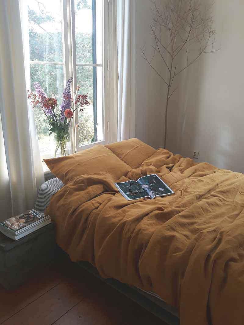 Okergeel linnen dekbedovertrek Yellow Summer, merk Casa Homefashion - online te koop bij Casa Comodo