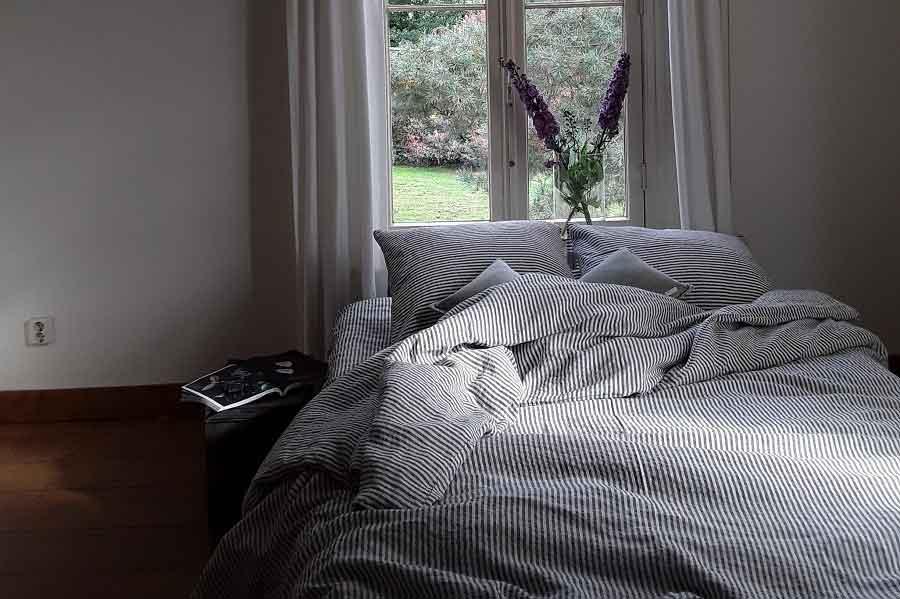 Gestreept linnen dekbedovertrek – merk Casa Homefashion