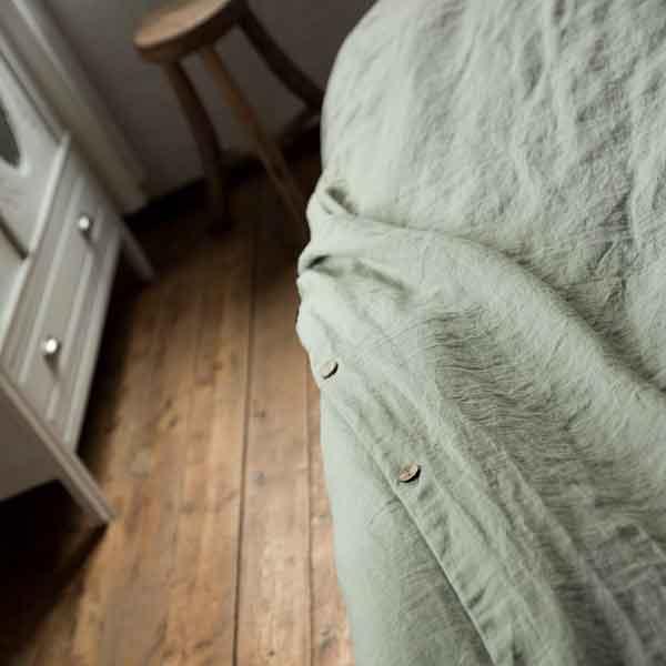 linnen hoeslaken en dekbedovertrek Wildsage - lindegroen - online te koop bij Casa Comodo