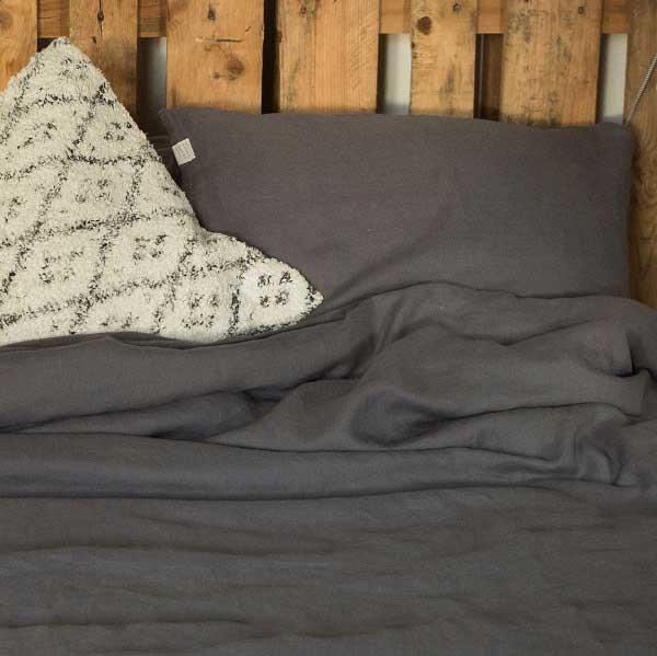 linnen dekbedovertrek Charcoal - donkergrijs - online bij Casa Comodo