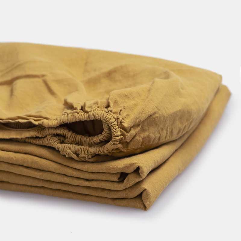linnen hoeslaken okergeel