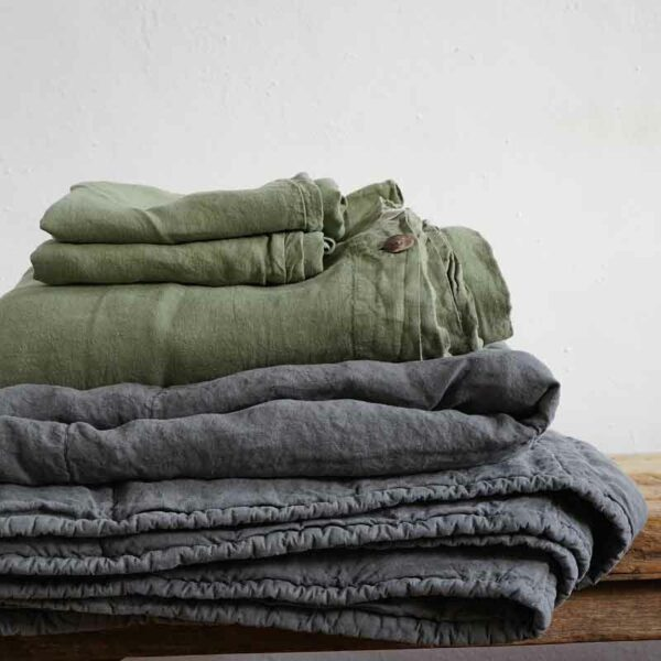 green and grey linen bedding