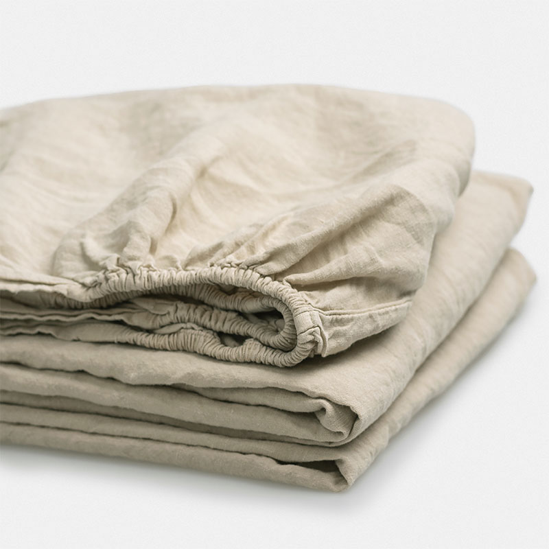 beige linnen hoeslaken