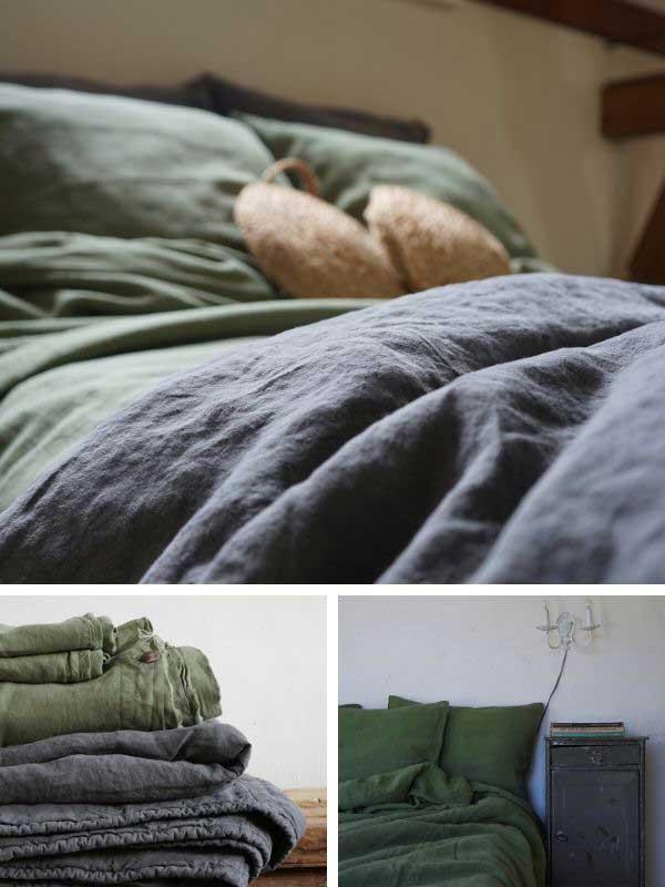 Linen duvet cover Woodland Green and linen bedspread Mineral Grey