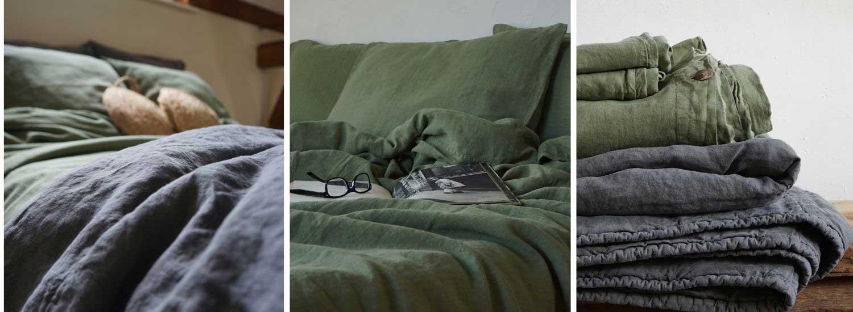 Linen duvet cover Woodland Green and linen bedspread Mineral Grey Casa Comodo