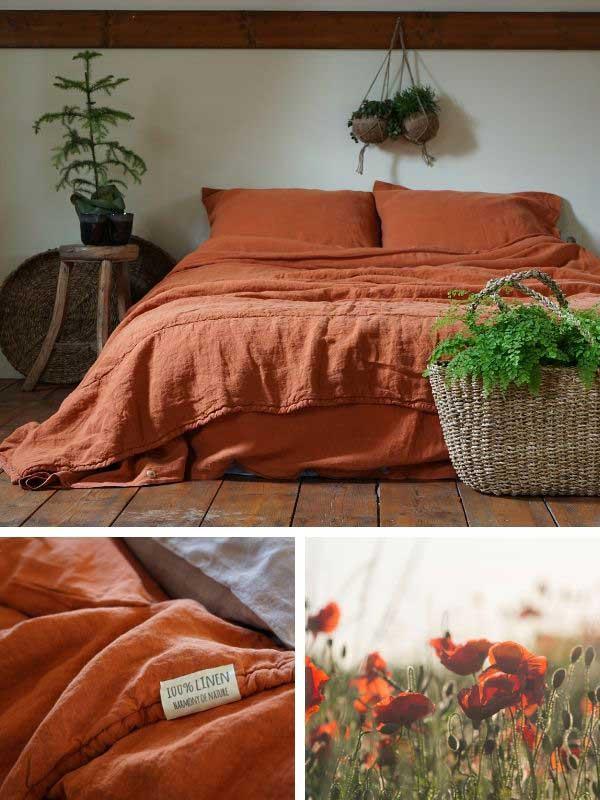 Linen duvet cover Baked Clay – Casa Comodo