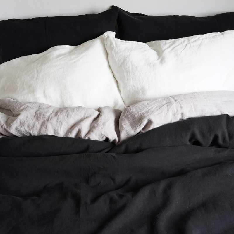 zwart linnen dekbedhoes