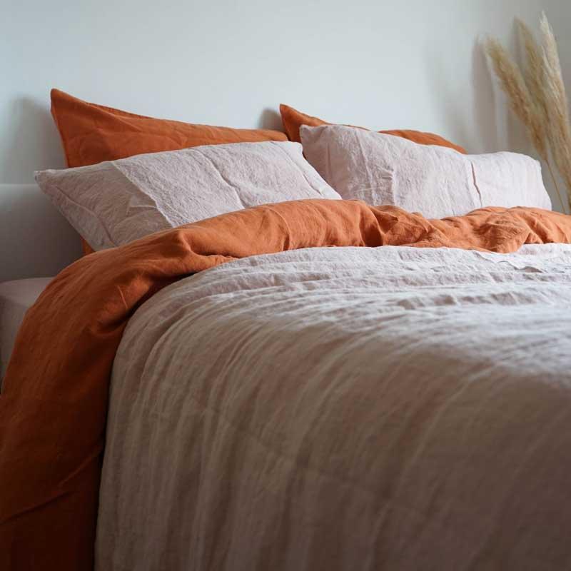 linnen dekbedovertrek Misty Pink – Casa Comodo