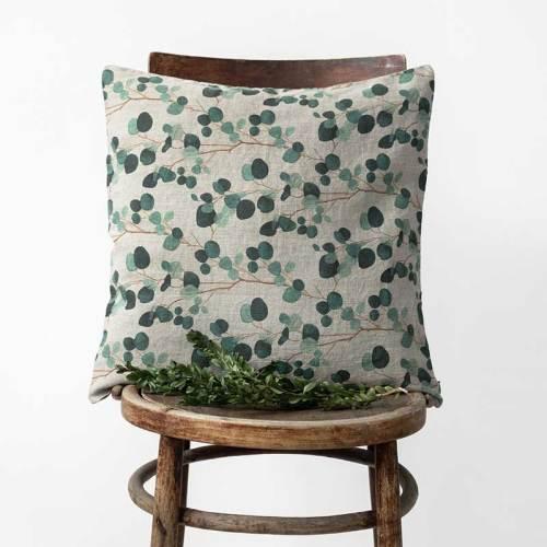 linnen sierkussen naturelmet print eucalyptus