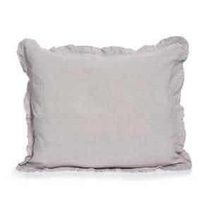 light grey linen pillowcase with ruffles