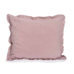 old pink linen pillowcover with ruffles