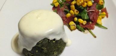 Flan di spinaci e taleggio con crema di parmigiano