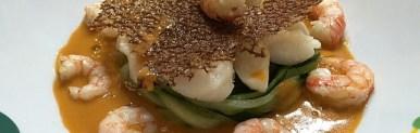 Spaghetti di zucchine e bocconcini di rana pescatrice con corallo al sedano, gambero rosso di Mazara e fumetto – Oggi cucina…Emanuele