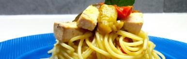 Spaghetti pesce spada e melanzane light